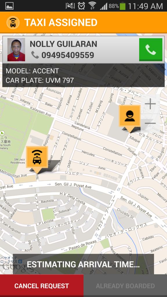 Screenshot 2014 04 27 11 49 12 576x1024 マニラでタクシー配車アプリ Easy Taxiを使ってみた